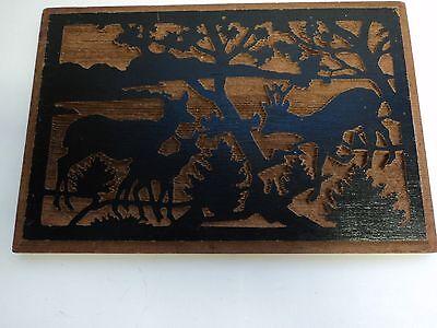 Vintage 60's Deer Family Wood Carving California Redwood