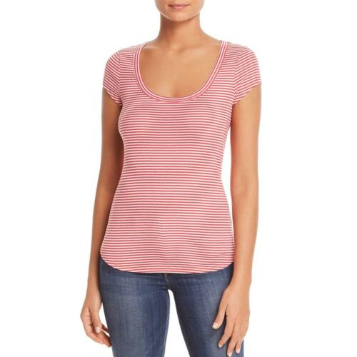 Three Dots Womens Red Striped Short Sleeves Scoop Neck T-Shirt Top L BHFO 8234