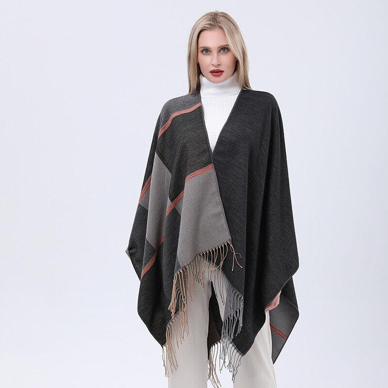 Lady Plaid Knit Poncho Batwing Tassel Shawl Cape Pullover Cloak Fringe Warm