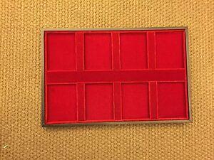 ABAFIL RIPIANO per MONETE in SLABS legno  velluto MOLTO ELEGANTE 8 CASELLE