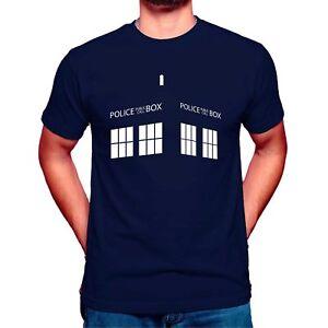 Doctor Who T Shirt Mens Tshirt Blue T-Shirt Police Box Large Cotton XXL 3XL