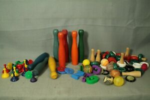 lot-vtg-toy-game-wood-bowling-pins-carem-pieces-sorry-super-balls-arts-crafts