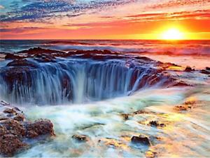 5D diamond painting Malerei Wasserfall Sonnenuntergang Meer Natur 30x40