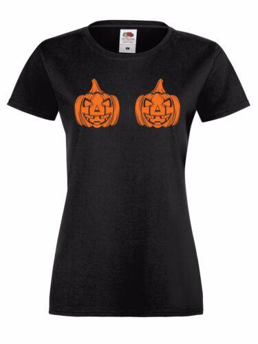 Citrouille Boobs T-Shirt-Drôle Blague Orange Noir Halloween Homme Femme