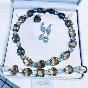 Huge-1000ct-Smoky-Quartz-Blue-Topaz-925-SS-Necklace-bracelet-earrings-ring-set