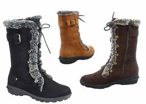 NEW-Women-039-s-Winter-Snow-Round-Toe-Lace-Up-Zip-Mid-Calf-Boots-Shoes-size-5-10