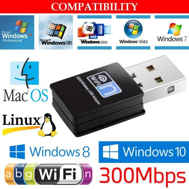 Mini 300Mbps USB Wireless WiFi LAN Network Receiver Card Adapter For Desktop PC