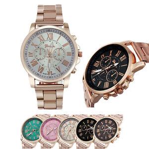 Luxus-Frauen-Maenner-Quarz-Armbanduhr-Edelstahl-Analog-Sport-Armbanduhr