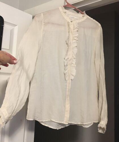 Velvet Graham Spencer Silk Blouse Cream Long Sleev