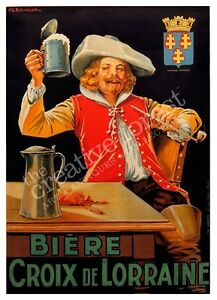 Image Is Loading BEER CROIX LORRAINE Vintage Alcohol Advertising Poster CANVAS