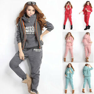 hiver tenue de sport femme sweatshirts gilet pantalon ebay. Black Bedroom Furniture Sets. Home Design Ideas