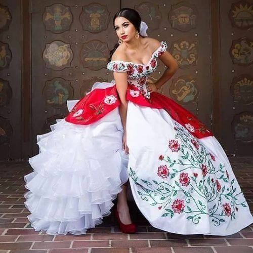 b3ac8cc7059ce White and Red Embroidery Long Ball Gown Quinceanera Dresses Prom Dresses  Custom
