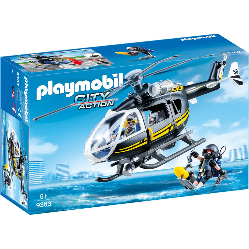 Playmobil 9363 City Action Swat Hélicoptère Jeu Avec Figurines