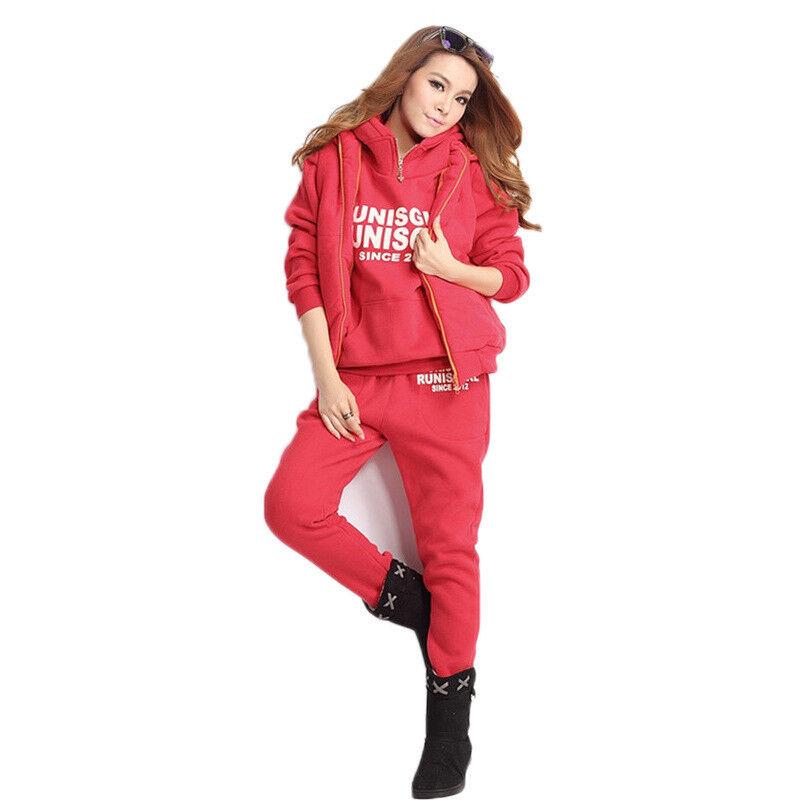 2019 Womens Sport Casual Suit Sweaters Pants Vest 3PCS Fashion Warm Winter Hot