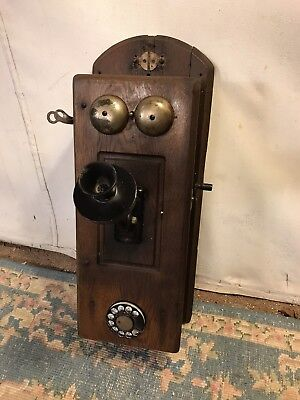 """Wall Phone Antique Rotary&crank 9""""x9""""x24"""" High Patina.see12pix4detail.make Offer Antiques"""