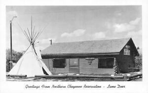 NORTHERN-CHEYENNE-RESERVATION-Lame-Deer-MT-Indian-Teepee-ca-1940s-Postcard