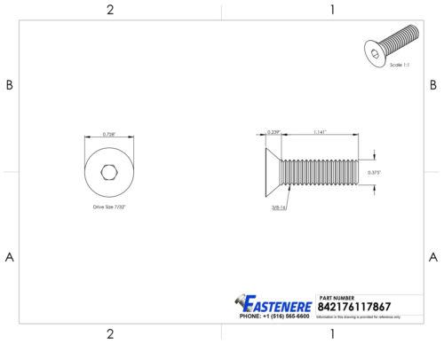 3//8-16 Flat Head Socket Cap Allen Screws Stainless Steel All Quantity Lengths