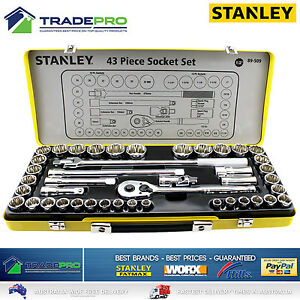 Stanley-PRO-43PC-Piece-Socket-Set-Metric-amp-Imperial-1-2-039-039-Drive-Quick-Release