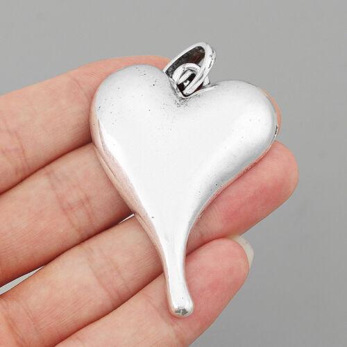 3pcs Tibetan Silver Large Heart Shape Charm Pendant for Necklace Finding 59x42mm