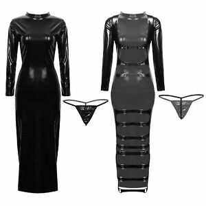 Women-039-s-Sexy-Patent-Leather-Hollow-Out-Bodycon-Dress-Midi-Dress-Clubwear-Party