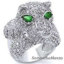 Micro Pave Set Cz Cubic Zirconia Emerald PANTHER Cocktail STATEMENT Animal Ring