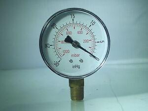 Belle Aspirateur Jauges -0-1000mbar- 30 * Hg Bspt 100mm (4inch) & 63mm Mâle Bas Conn