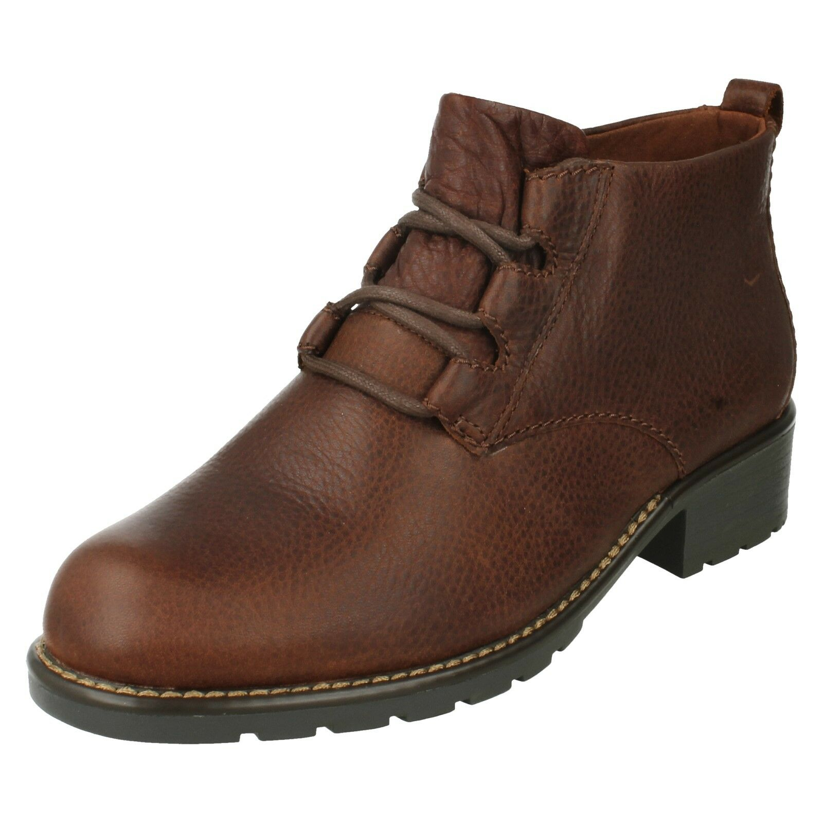 LADIES CLARKS  HEELED WARM LINED CASUAL LEATHER LACE UP ANKLE Stiefel ORINOCO OAKS