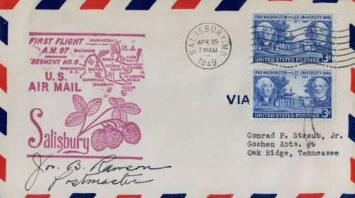 T0748law USA Airmail First Flight Segment 6 Salisbury 1949 cover