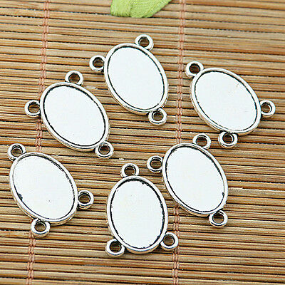 16pcs tibetan silver 2sideoval cameo cabochon setting connector EF1973