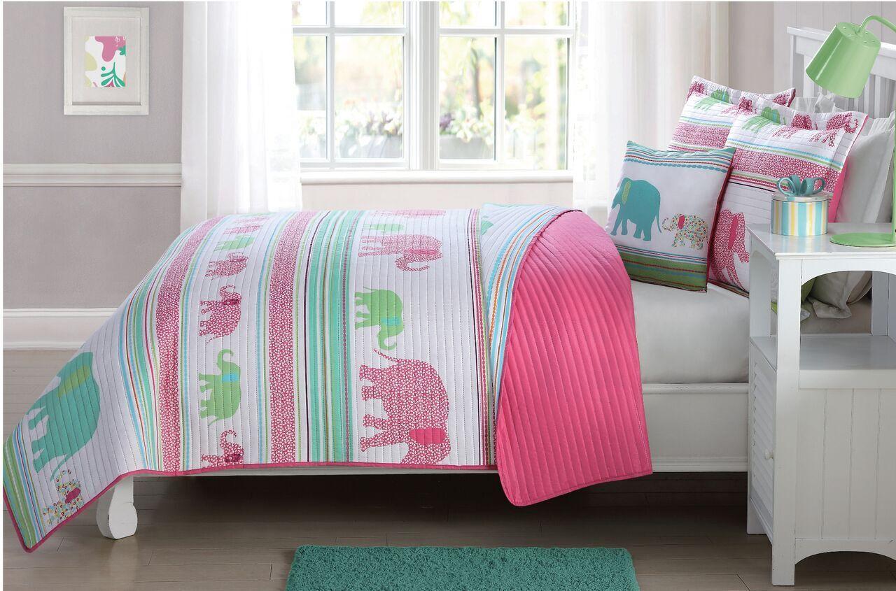 Pink Elephants 4 Pcs Twin   Full Size Kids Boys Girls Quilt  Shams  Cushion Set
