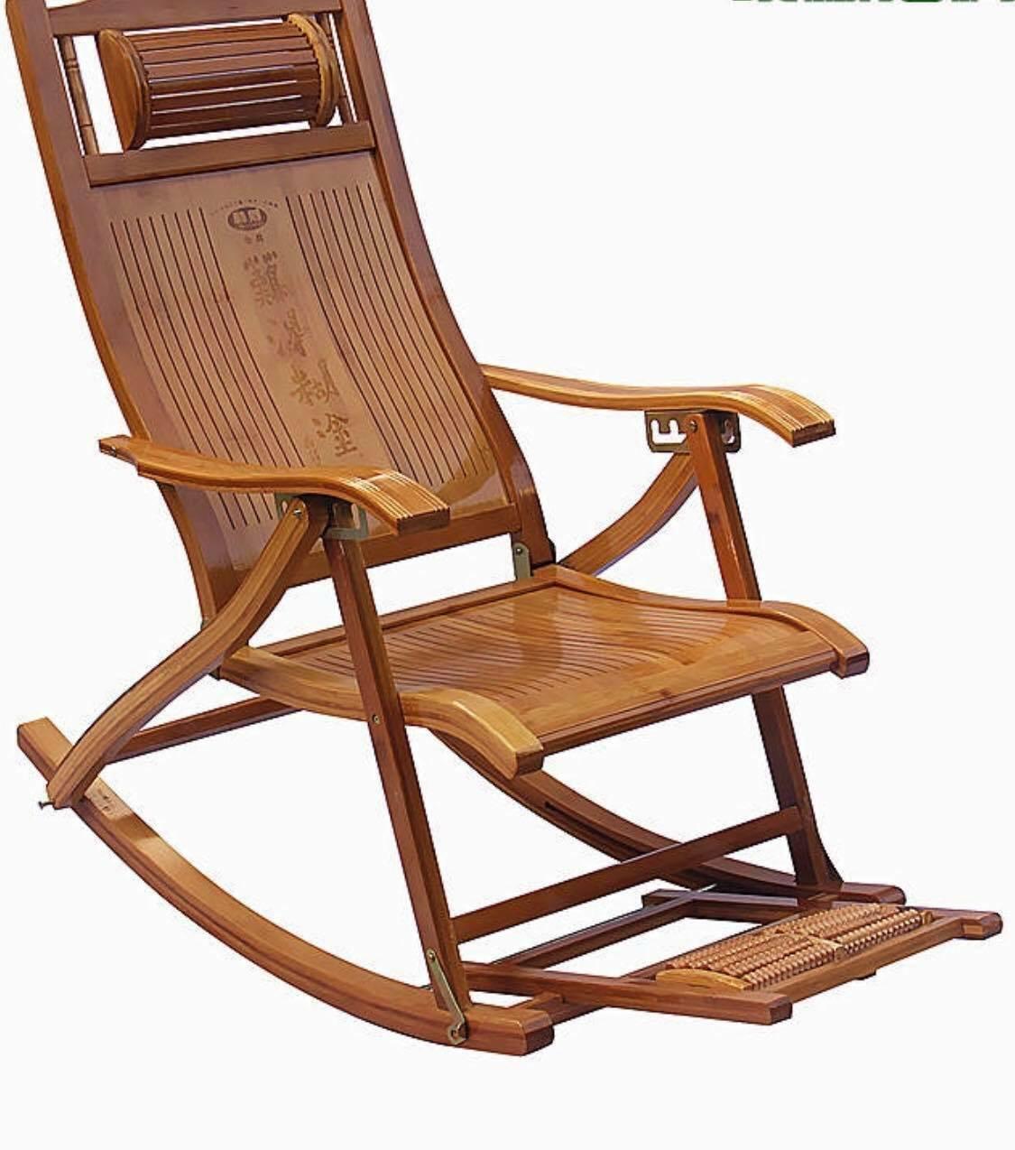 Mecedora Ajustable De Bambú Con Masajeador De Pies Relajante interior al aire libre