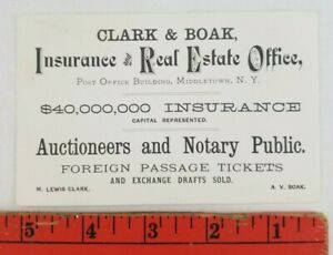 Vintage 1900's Insurance Real Estate Office Middletown New York Business Card