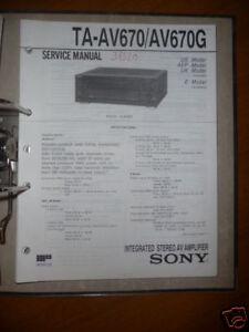 Tv, Video & Audio Systematisch Service Manual Sony Ta-av670/av670g Amplifier,origin Warmes Lob Von Kunden Zu Gewinnen