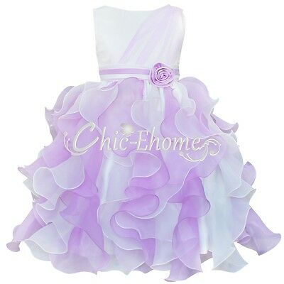 Ruffle Flower Girl Kid Dress Party Pageant Wedding Bridesmaid Recital Graduation