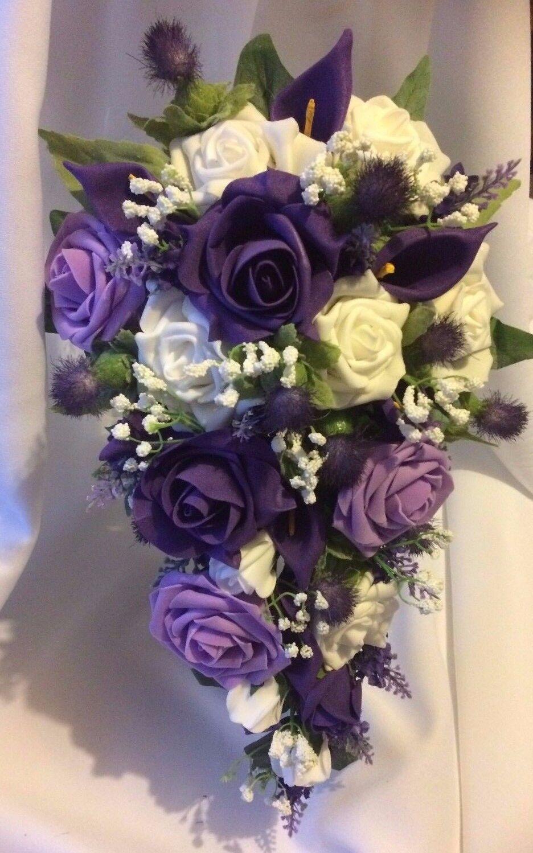 Scottish Mariage Fleurs Mariée Bouquet Paquet Thistles, Violet & Blanc Roses