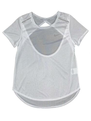 Nike Womens Dri-Fit Breathe Running Mesh Shirt Black/White/Blue New