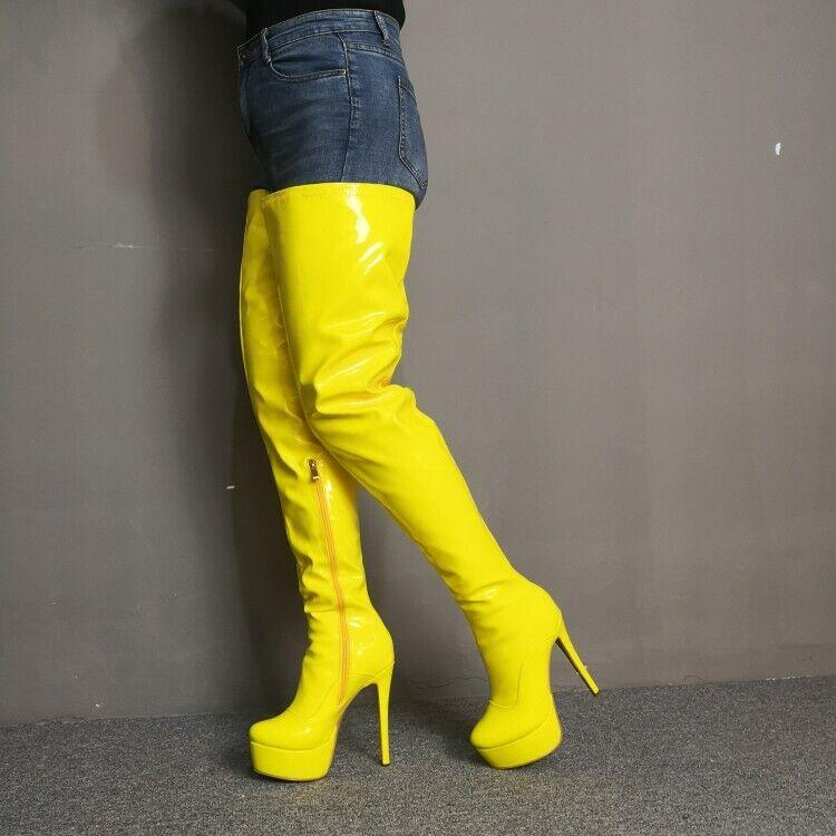 Sexy Para mujeres Plataforma Tacón Alto botas Zapatos Stilettos clubes de alto del muslo Gran Tamaño