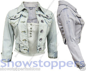NEW DENIM JACKET LADIES Jean Jackets Womens Waistcoat Cropped Size