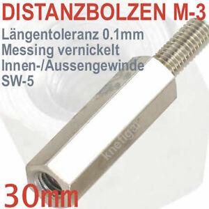 Abstandsbolzen-Messing-vernickelt-Innen-Aussen-M-3-Laenge-30-mm-deutsche-Qualitaet