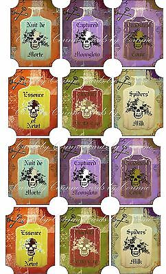 Vintage Halloween 12 potion bottle label sticker scrapbooking party favor