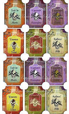 Vintage Halloween 12 potion bottle label sticker scrapbooking party favor