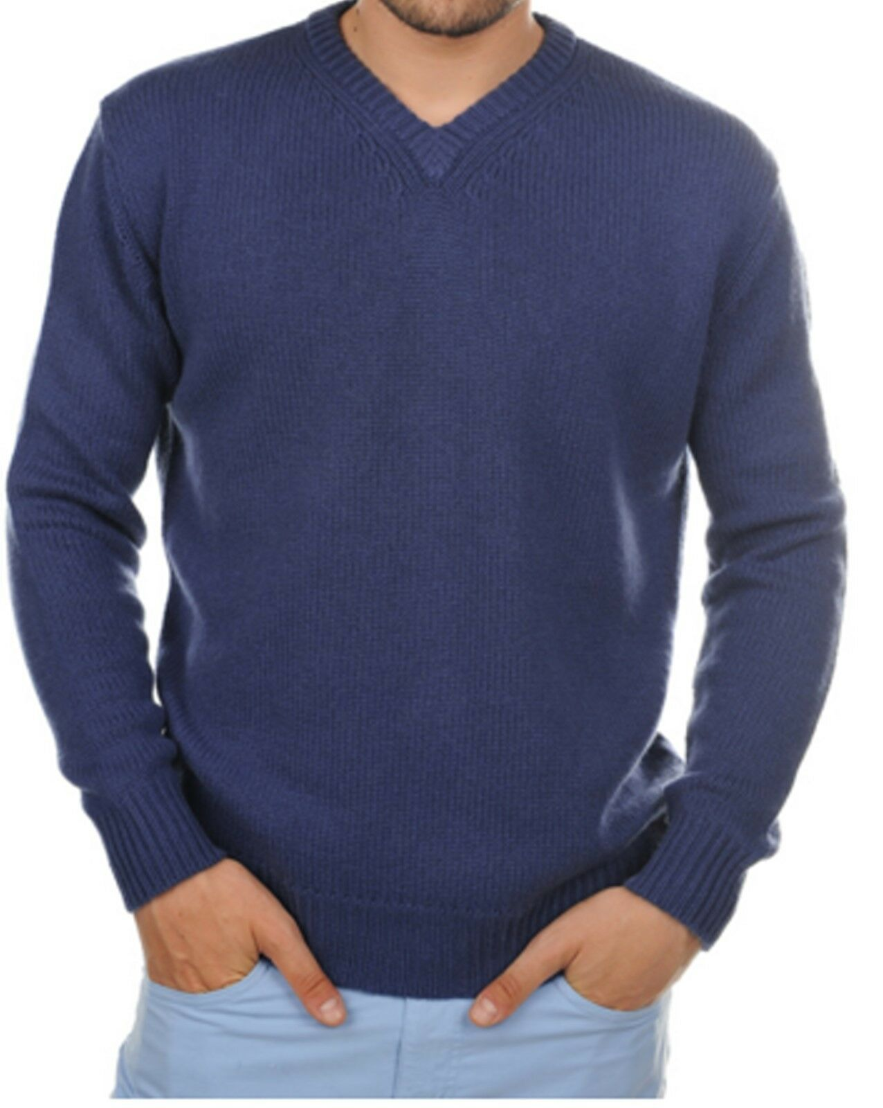 Balldiri 100% Cashmere Herren Pullover V-Ausschnitt 8-fädig kobaltblau L