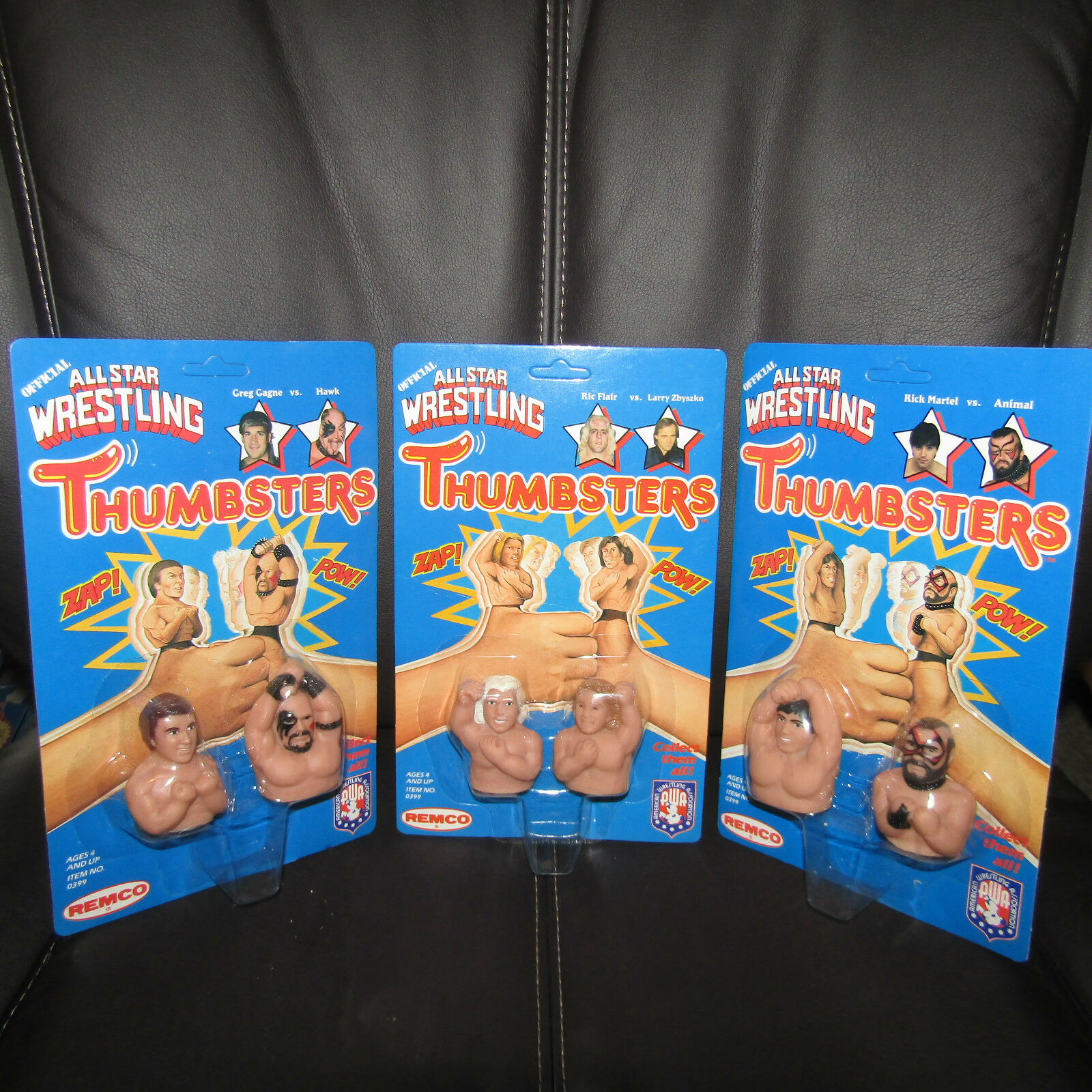 REMCO AWA all star THUMBSTERS Ultra Gem,UNpeg,Road Warrior,Flair,Zbyszko,moc