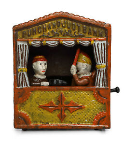 ANTIQUE-VINTAGE-STYLE-CAST-IRON-MECHANICAL-PUNCH-AND-JUDY-MONEY-BOX-BANK
