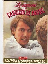 """Spartito Musicale """"Le Canzoni di Fabrizio de Andrè"""" - Edizioni Leonardi - 1978"""