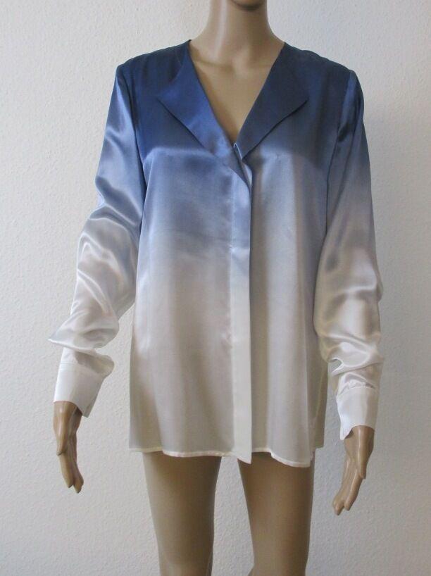 SeidenBlause, langarm, Farbe blau - weiß geflammt, Größe 40