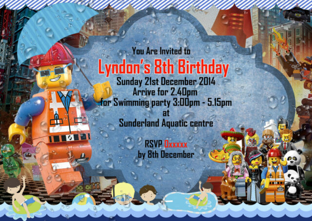 Personalized Birthday Party Invitations Lego Movie Pool Theme 8 Invites Set A6