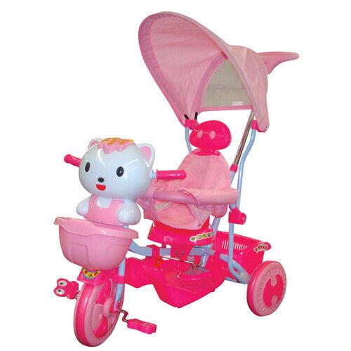 Triciclo Hello Kitty gattino rosa per bambina con parasole Tricicli passeggino
