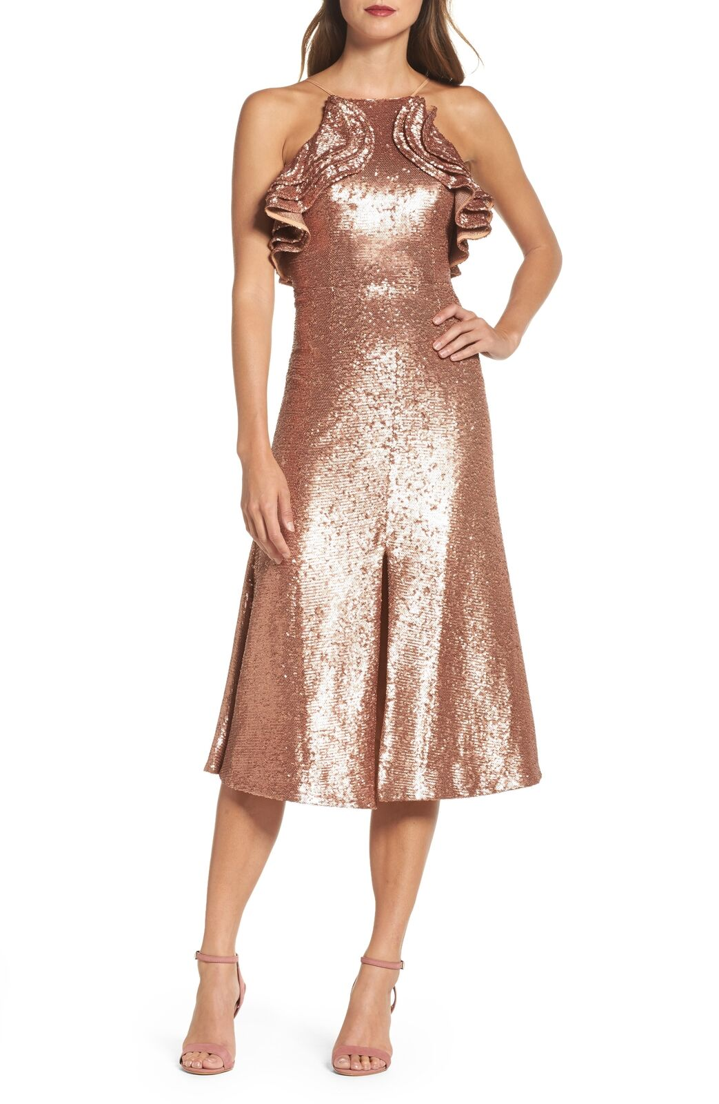 NEW C MEO COLLECTIVE Sequin Ruffle Midi DRESS SIZE XS 0  240 pink gold NORDSTROM