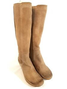 """Tsubo Women's 14"""" Shaft Molded Rubber Sole Khaki Suede Tall Boots Size 7 Z965"""